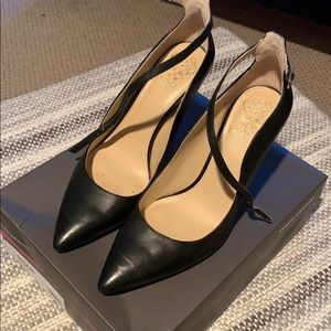 Black Vince Camuto pumps with strap